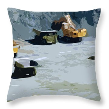 The Big Dig Throw Pillow by Phill Petrovic