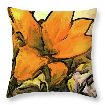 The Big Gold Flower And The White Roses Throw Pillow