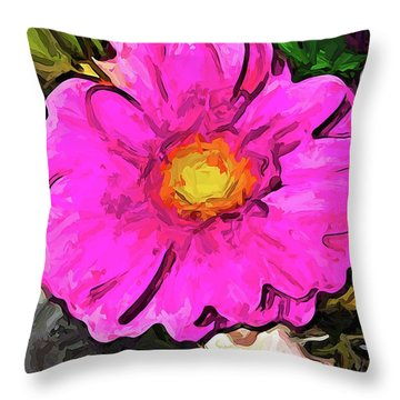 The Big Pink And Yellow Flower In The Little Vase Throw Pillow