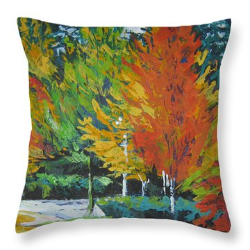 The Big Red Tree Throw Pillow by Lee Ann Shepard