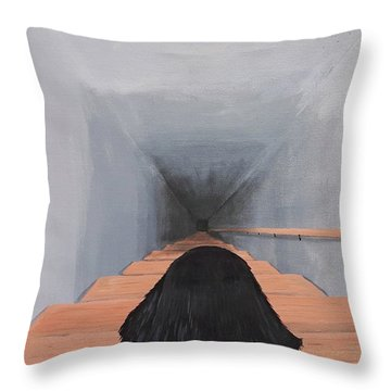 The Big Stairs Go Down Forever Throw Pillow