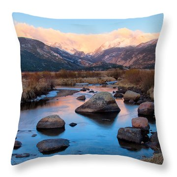 The Big Thompson River Flows Through Rocky Mountain National Par Throw Pillow by Ronda Kimbrow