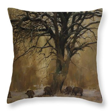 The Big Tree With Wild Boars Throw Pillow