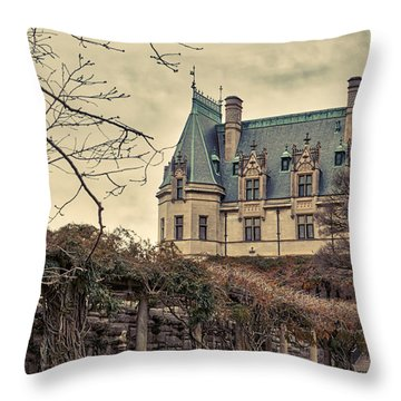 The Biltmore Mansion In The Fall Throw Pillow