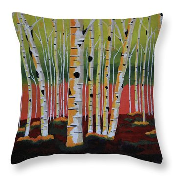 The Birch Forest - Landscape Painting Throw Pillow