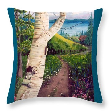 Throw Pillow featuring the painting The Birch by Renate Nadi Wesley