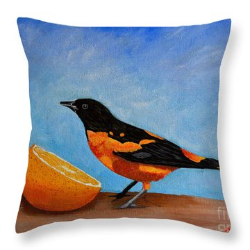 Throw Pillow featuring the painting The Bird And Orange by Laura Forde