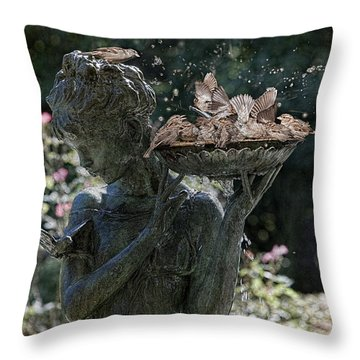 The Bird Bath Throw Pillow
