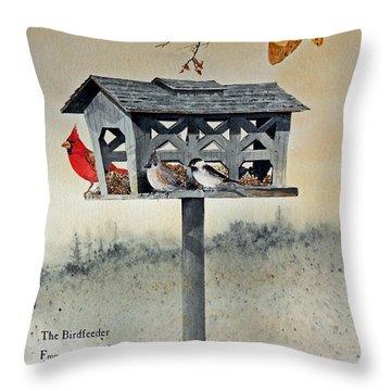 The Birdfeeder Throw Pillow by Monte Toon