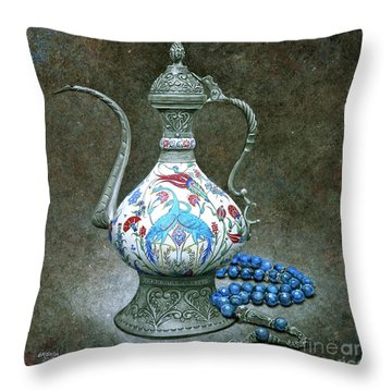 the Birds and the Beads Throw Pillow