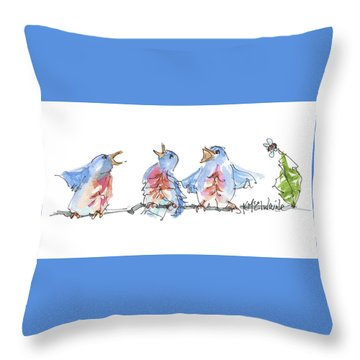 The Birds And The Bee Bird Art Watercolor Painting By Kmcelwaine Throw Pillow