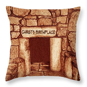 The Birthplace Of Christ Church Of The Nativity Throw Pillow by Georgeta Blanaru