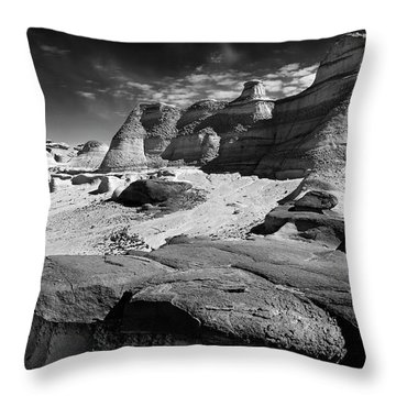 The Bisti Badlands - New Mexico - Black And White Throw Pillow by Jason Politte