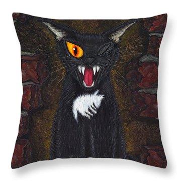 The Black Cat Edgar Allan Poe Throw Pillow