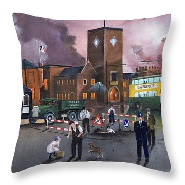 Dudley Trolley Bus Terminus 1950's Throw Pillow