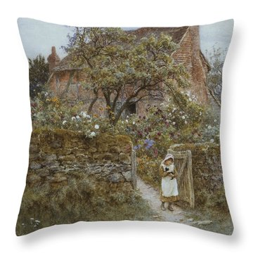 The Black Kitten Throw Pillow by Helen Allingham