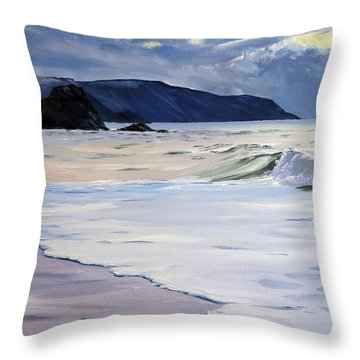 Throw Pillow featuring the painting The Black Rock Widemouth Bay by Lawrence Dyer