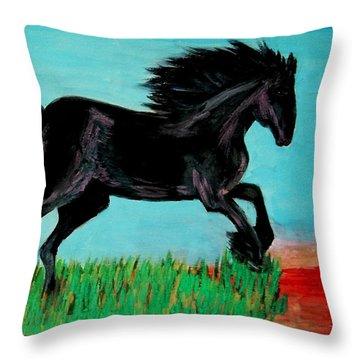 The Black Stallion Throw Pillow