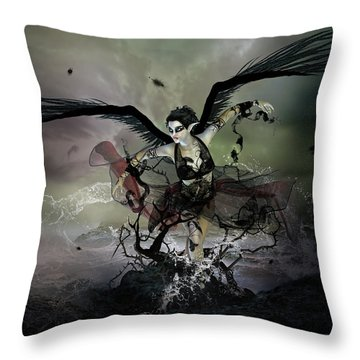 The Black Swan Throw Pillow by Mary Hood