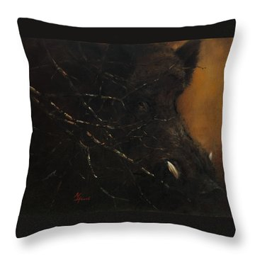 The Black Wildboar Throw Pillow