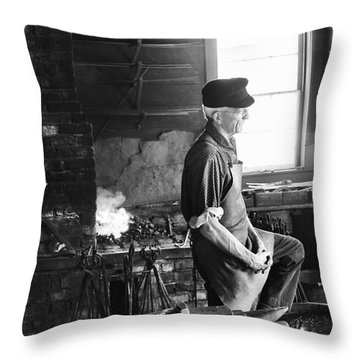 Throw Pillow featuring the photograph The Blacksmith  by Ricky L Jones