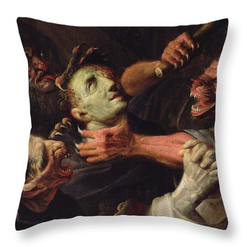 The Blessed Guillaume De Toulouse Tormented By Demons Throw Pillow
