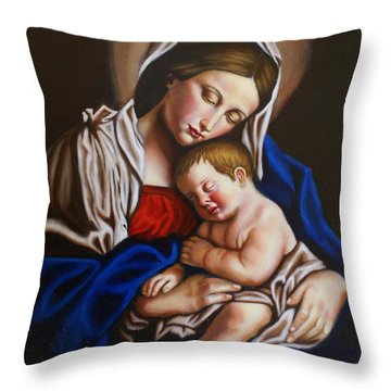 The Blessed Mother And The Infant Jesus Throw Pillow
