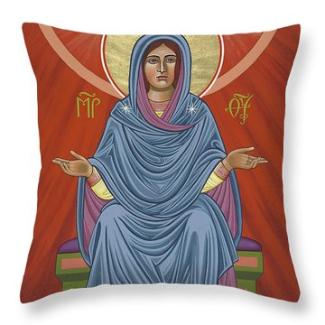 Throw Pillow featuring the painting The Blessed Virgin Mary, Mother Of The Church by William Hart McNichols