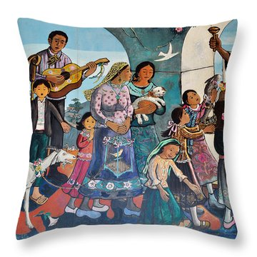 The Blessing Of Animals Olvera Street Throw Pillow