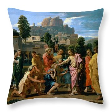 The Blind Of Jericho Throw Pillow by Nicolas Poussin