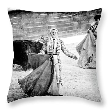 The Blond, The Bull And The Coup De Gras Bullfight Throw Pillow