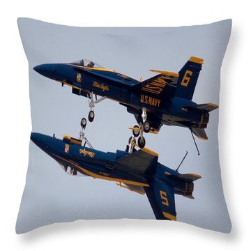 The Blue Angels Flying Over The Another Throw Pillow