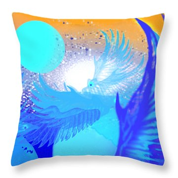 The Blue Avians Throw Pillow by Ute Posegga-Rudel