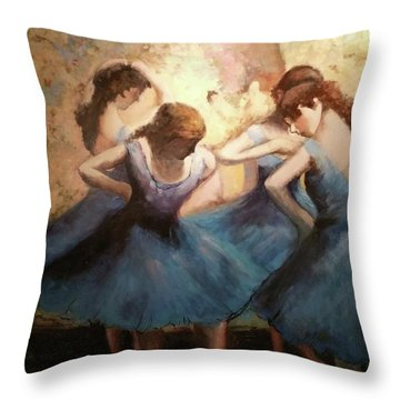 The Blue Ballerinas - A Edgar Degas Artwork Adaptation Throw Pillow