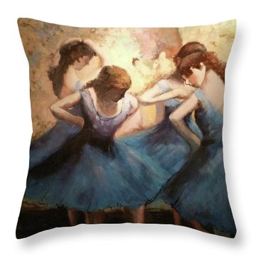 Throw Pillow featuring the painting The Blue Ballerinas - A Edgar Degas Artwork Adaptation by Rosario Piazza
