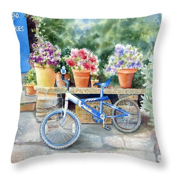 The Blue Bicycle Throw Pillow by Deborah Ronglien