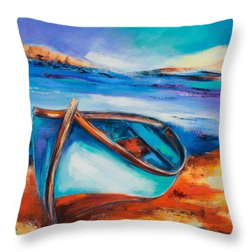 The Blue Boat Throw Pillow by Elise Palmigiani