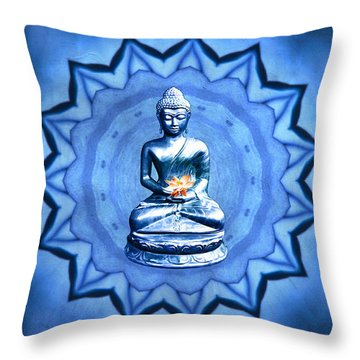 The Blue Buddha Meditation Throw Pillow
