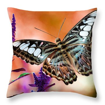 The Blue Clipper Throw Pillow by Lois Bryan