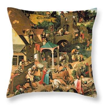 The Blue Cloak Throw Pillow by Pieter the Elder Bruegel