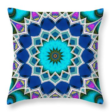 Throw Pillow featuring the digital art The Blue Collective 01a by Wendy J St Christopher