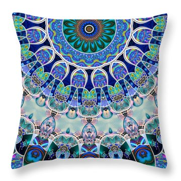 Throw Pillow featuring the digital art The Blue Collective 02b by Wendy J St Christopher