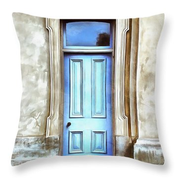 Throw Pillow featuring the painting The Blue Door by Edward Fielding