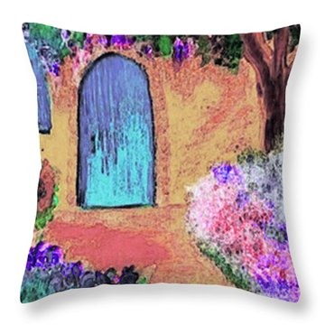 Throw Pillow featuring the mixed media The Blue Door by Holly Martinson