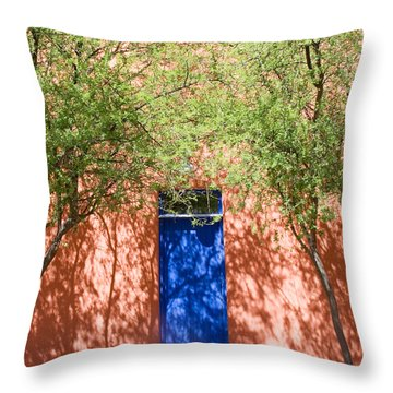 The Blue Door In Springtime Throw Pillow by Elvira Butler