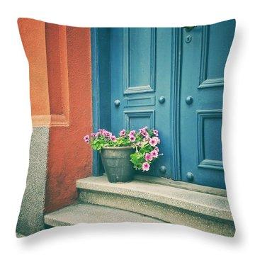 The Blue Door Throw Pillow by Karen Stahlros