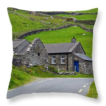 The Blue Door Throw Pillow by Patricia Griffin Brett