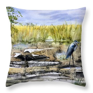 The Blue Egret Throw Pillow