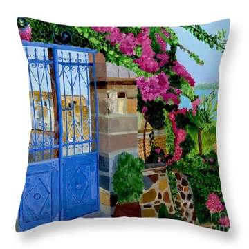 Throw Pillow featuring the painting The Blue Gate  by Rodney Campbell