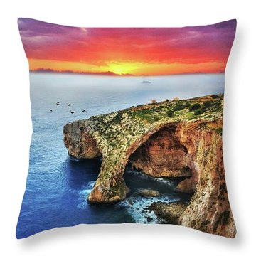 The Blue Grotto At Sunset In Malta Throw Pillow by Stephan Grixti